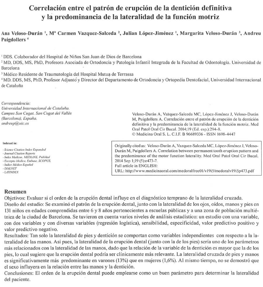 Artículo de los Dres. Ana Veloso Durán y Julián López Giménez en la Revista Medicina Oral Patología Oral y Cirugía Bucal